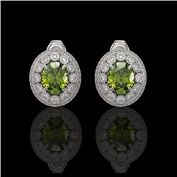 8.04 ctw Tourmaline & Diamond Victorian Earrings 14K White Gold