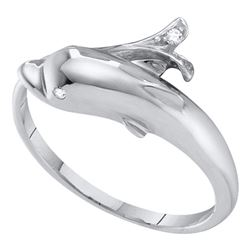 10kt White Gold Round Diamond Dolphin Fish Animal Wrap Ring .03 Cttw