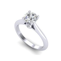 1.08 ctw VS/SI Diamond Solitaire Art Deco Ring 18K White Gold
