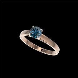 .73 ctw Certified Intense Blue Diamond Engagement Ring 10K Rose Gold
