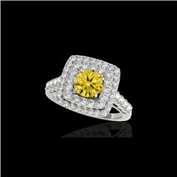 2.05 ctw Certified SI/I Fancy Intense Yellow Diamond Ring 10K White Gold