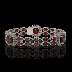 17.34 ctw Garnet & Diamond Bracelet 14K White Gold