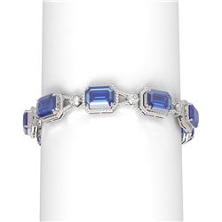 46.05 ctw Tanzanite & Diamond Bracelet 18K White Gold