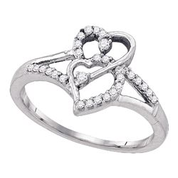 10k White Gold Round Diamond Double Heart Promise Bridal Ring 1/6 Cttw