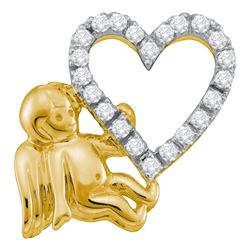 10kt Yellow Gold Round Diamond Cherub Angel Heart Pendant 1/6 Cttw