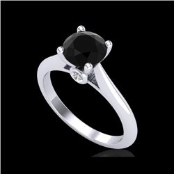 1.36 ctw Fancy Black Diamond Engagement Art Deco Ring 18K White Gold