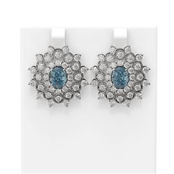 8.08 ctw Aquamarine & Diamond Earrings 18K White Gold