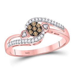 10kt Rose Gold Round Brown Diamond Cluster Double Heart Ring 1/6 Cttw