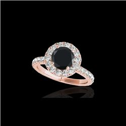 1.75 ctw Certified VS Black Diamond Solitaire Halo Ring 10K Rose Gold