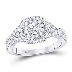 14kt White Gold Round Diamond 3-stone Twist Bridal Wedding Engagement Ring 1.00 Cttw