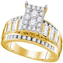 10kt Yellow Gold Round Diamond Rectangle Cluster Bridal Wedding Engagement Ring 7/8 Cttw