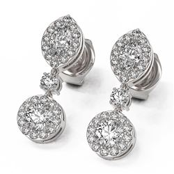 1.74 ctw Marquise Cut Diamond Designer Earrings 18K White Gold