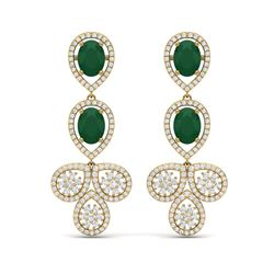 9.75 ctw Emerald & VS Diamond Earrings 18K Yellow Gold