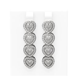 6.55 ctw Heart Diamond Earrings 18K White Gold