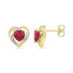 10kt Yellow Gold Round Lab-Created Ruby Heart Earrings 3/8 Cttw