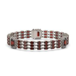 23.08 ctw Garnet & Diamond Bracelet 14K White Gold