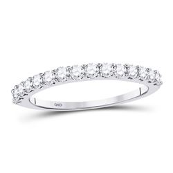 14kt White Gold Round Diamond Wedding Anniversary Band 1/2 Cttw