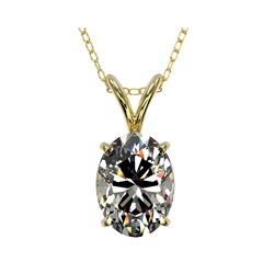 1.25 ctw Certified VS/SI Quality Oval Diamond Necklace 10K Yellow Gold