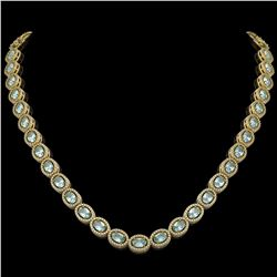 24.65 ctw Aquamarine & Diamond Micro Pave Halo Necklace 10K Yellow Gold