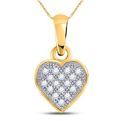 10kt Yellow Gold Round Diamond Cluster Small Heart Pendant 1/20 Cttw