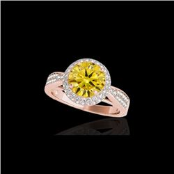 1.65 ctw Certified SI/I Fancy Intense Yellow Diamond Ring 10K Rose Gold
