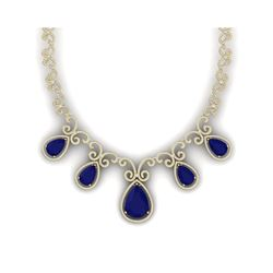 38.42 ctw Sapphire & VS Diamond Necklace 18K Yellow Gold