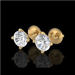 2 ctw VS/SI Diamond Solitaire Art Deco Stud Earrings 18K Yellow Gold