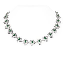 26.3 ctw Emerald & Diamond Necklace 18K White Gold