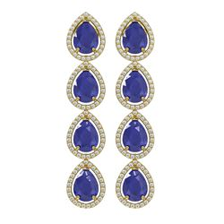 16.01 ctw Sapphire & Diamond Micro Pave Halo Earrings 10K Yellow Gold