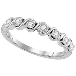 10kt White Gold Round Diamond Band Ring 1/6 Cttw