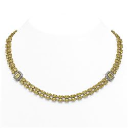 51.66 ctw Citrine & Diamond Necklace 14K Yellow Gold