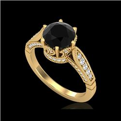 2.2 ctw Fancy Black Diamond Engagement Art Deco Ring 18K Yellow Gold