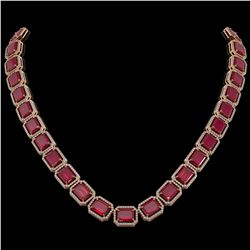 84.94 ctw Ruby & Diamond Micro Pave Halo Necklace 10K Rose Gold