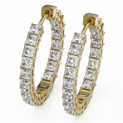 5.6 ctw Princess Cut Diamond Designer Earrings 18K Yellow Gold