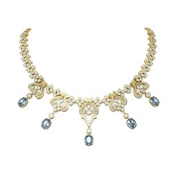 37.36 ctw Aquamarine & Diamond Necklace 18K Yellow Gold