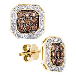 14kt Yellow Gold Round Brown Diamond Square Cluster Screwback Earrings 3/4 Cttw