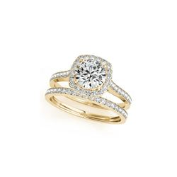 1.12 ctw Certified VS/SI Diamond 2pc Wedding Set Halo 14K Yellow Gold