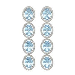 11.72 ctw Aquamarine & Diamond Micro Pave Halo Earrings 10K White Gold