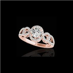 1.38 ctw Certified Diamond Solitaire Halo Ring 10K Rose Gold