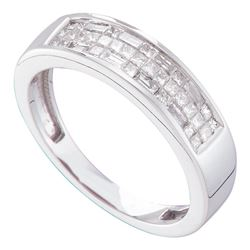 14kt White Gold Princess Invisible-set Diamond Triple Row Band 1/2 Cttw