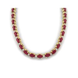71.85 ctw Ruby & VS/SI Certified Diamond Eternity Necklace 10K Yellow Gold