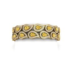 18.61 ctw Canary Citrine & VS Diamond Bracelet 18K Yellow Gold