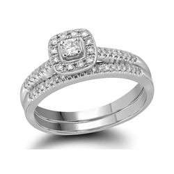 10kt White Gold Princess Diamond Square Halo Bridal Wedding Engagement Ring Band Set 1/3 Cttw