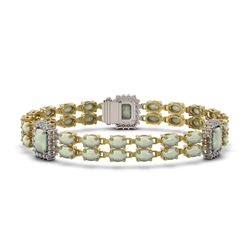 17.78 ctw Opal & Diamond Bracelet 14K Yellow Gold