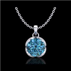 1.13 ctw Fancy Intense Blue Diamond Art Deco Necklace 18K White Gold