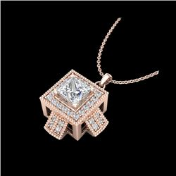 0.84 ctw Princess VS/SI Diamond Micro Pave Necklace 18K Rose Gold