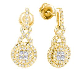 14kt Yellow Gold Princess Round Diamond Cluster Dangle Earrings 1/2 Cttw