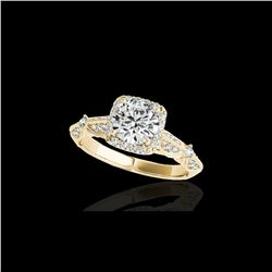 1.36 ctw Certified Diamond Solitaire Halo Ring 10K Yellow Gold