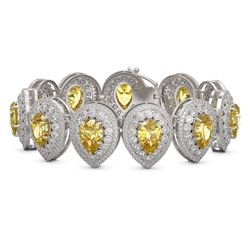 46.44 ctw Canary Citrine & Diamond Victorian Bracelet 14K White Gold