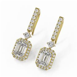 4.25 ctw Emerald Cut Diamond Designer Earrings 18K Yellow Gold